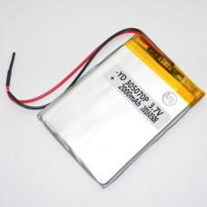 Аккумуляторная батарея HST-305070P - 2000mAh 3.7v - размер 70*50*3 - 2 контакта